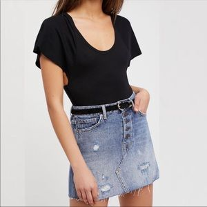 Free People denim front button a line jean skirt